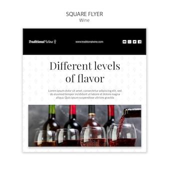 Projekt ulotki kwadrat wina