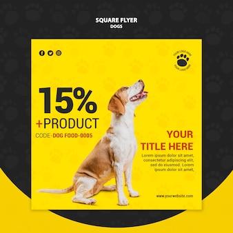 Projekt ulotki kwadratowe zniżki żywności dla psów