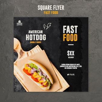 Projekt ulotki kwadratowej fast food