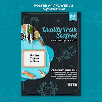 Projekt ulotki restauracji z owocami morza