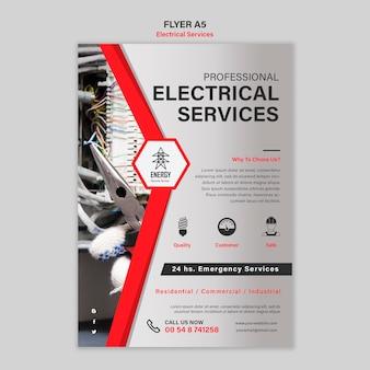 Projekt ulotki usług ekspertów elektrycznych