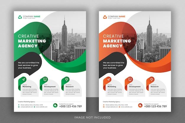 Projekt ulotki wielofunkcyjnej korporacyjnej i szablon strony tytułowej broszury