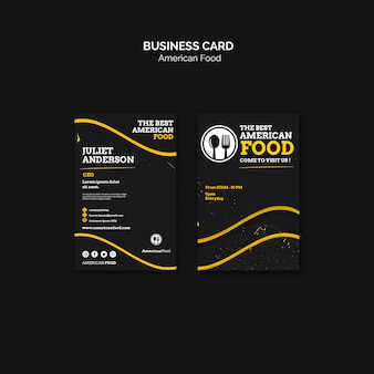 Projekt wizytówki amerykańskie jedzenie