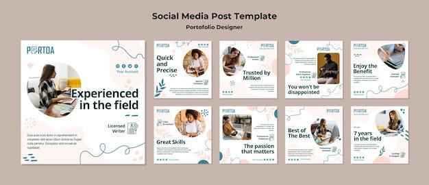 Projektant portfolio post w mediach społecznościowych