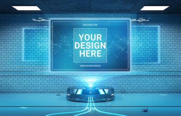 Projektor billboardowy w futurystycznej makiecie wnętrza