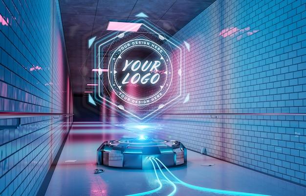 Projektor z logo w futurystycznej makiecie korytarza metra