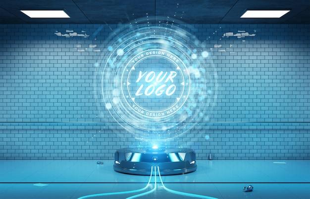 Projektor z logo w makiecie wnętrza tunelu podziemnego