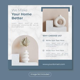 Projektowanie wnętrz domu lub szablon banera postu na instagram