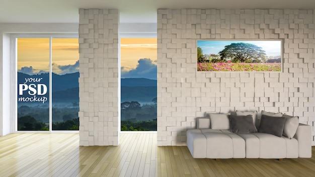 Projektowanie wnętrz salonu z makieta ramki i makieta widok