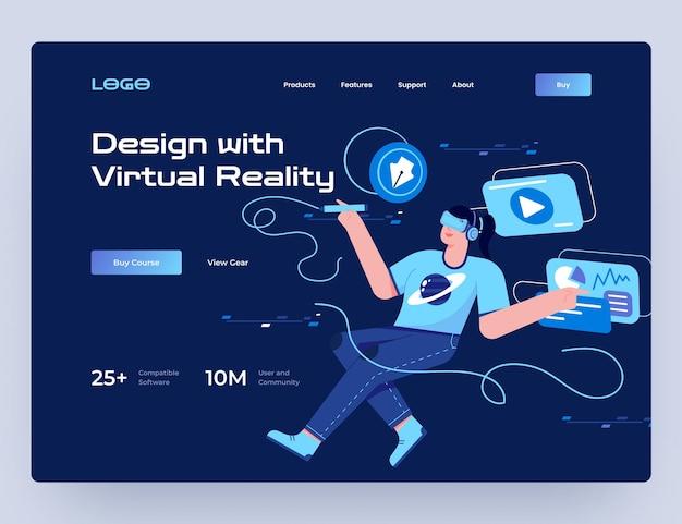 Projektuj za pomocą szablonu strony internetowej sprzętu wirtualnej rzeczywistości