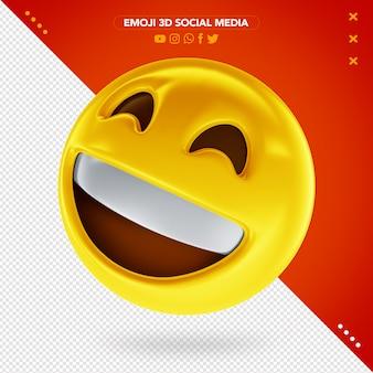 Promieniująca emoji twarzy 3d z uśmiechniętymi oczami i bardzo szczęśliwym uśmiechem