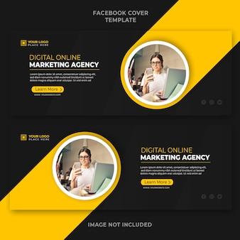 Promocja agencji marketingu cyfrowego online szablon banera okładki na facebooku