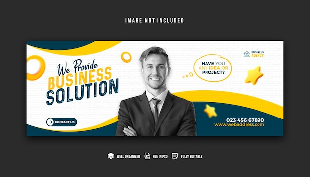 Promocja biznesowa i korporacyjny projekt szablonu okładki na facebooka