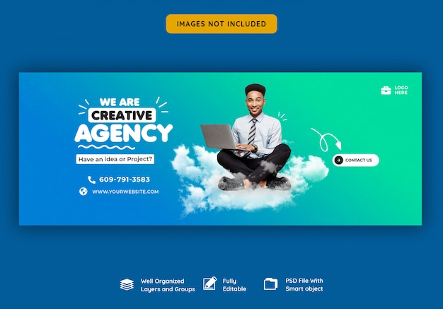 Promocja biznesowa i kreatywny szablon okładki na facebooku