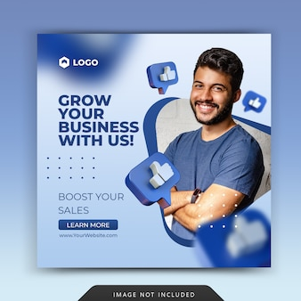 Promocja biznesu dla szablonu postu na instagramie w mediach społecznościowych