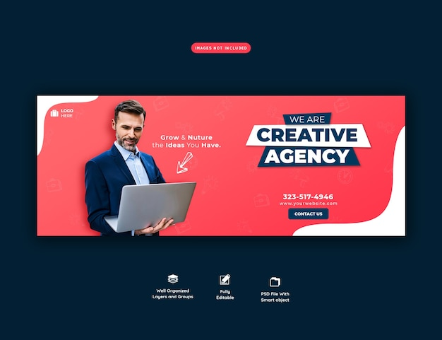 Promocja biznesu i kreatywny szablon okładki na facebooku
