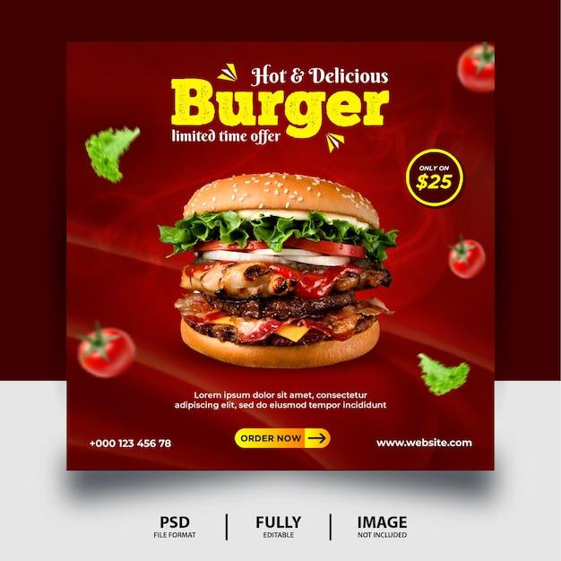 Promocja chocolate color burger social media post banner