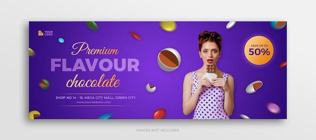 Promocja czekoladowych cukierków na okładce na facebooku lub szablonie banera internetowego w mediach społecznościowych