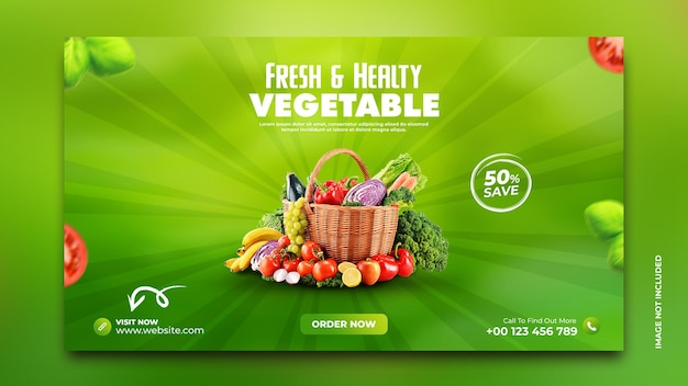 Promocja dostawy warzyw i artykułów spożywczych baner internetowy instagram szablon postu w mediach społecznościowych