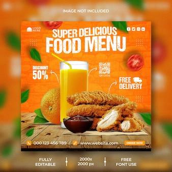 Promocja fast foodów w mediach społecznościowych i szablon projektu postu na instagramie