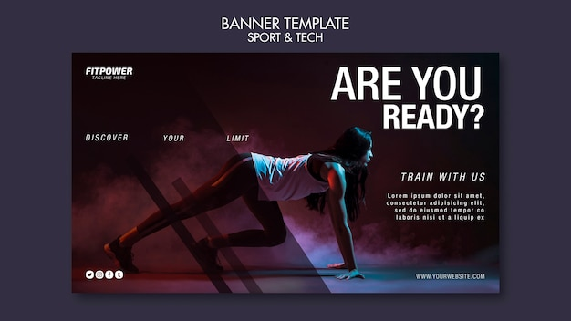 Promocja fitness online kwadratowa ulotka