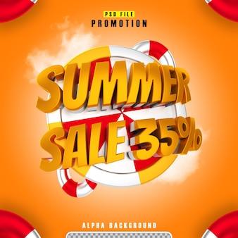 Promocja letnia wyprzedaż 35 złota w renderowaniu 3d na białym tle