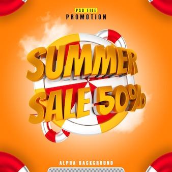 Promocja letnia wyprzedaż 50 złota w renderowaniu 3d na białym tle