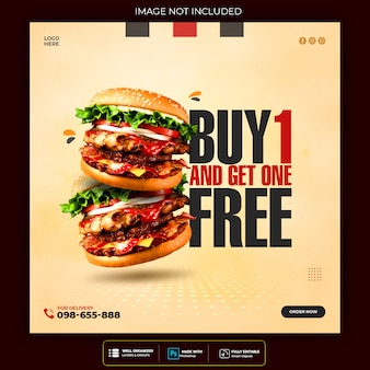 Promocja menu burger social media instagram szablon banner premium psd