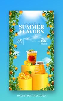 Promocja menu letnich drinków w mediach społecznościowych szablon transparentu historii na instagramie