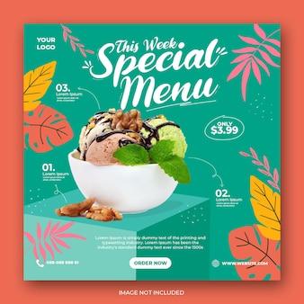 Promocja menu lody w mediach społecznościowych instagram post banner szablon