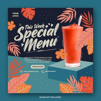 Promocja menu napojów w mediach społecznościowych szablon postu na instagramie