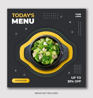 Promocja menu szablon banner instagram