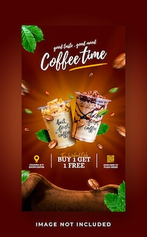 Promocja menu w kawiarni na drinka w mediach społecznościowych szablon banera historii na instagramie