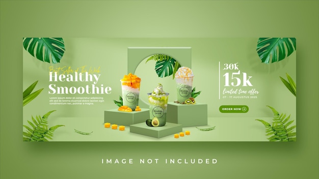 Promocja menu zdrowego napoju na okładce na facebooku szablon banera
