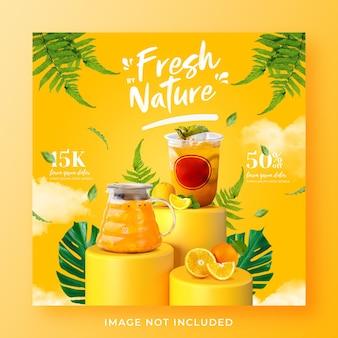 Promocja menu zdrowego napoju w mediach społecznościowych instagram post banner szablon