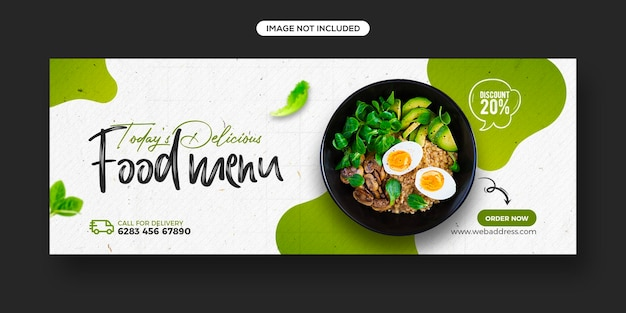 Promocja Menu Zdrowej żywności I Szablon Banera Okładki Na Facebooku W Mediach Społecznościowych Premium Psd