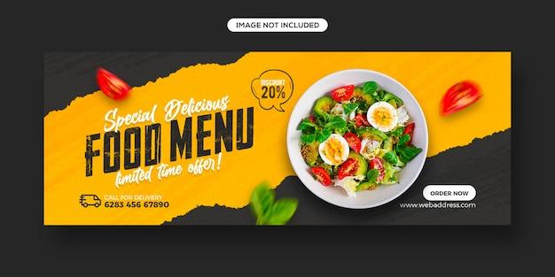 Promocja menu zdrowej żywności i szablon banera okładki na facebooku w mediach społecznościowych