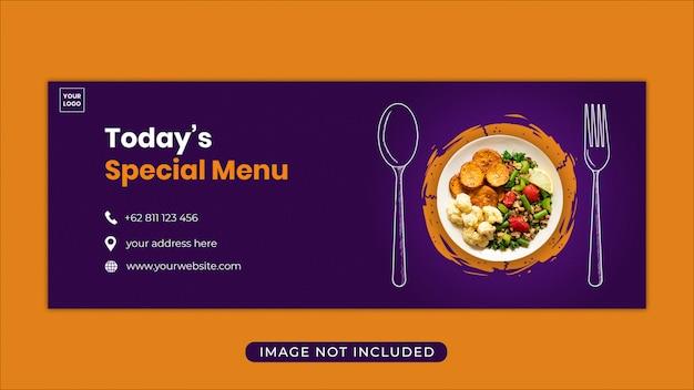 Promocja menu żywności facebook szablon transparent okładka