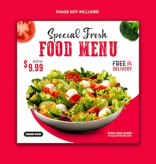 Promocja menu żywności w mediach społecznościowych i szablonie postu na instagramie