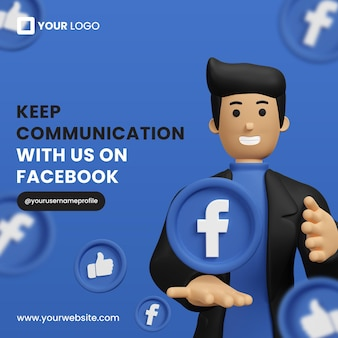 Promocja na facebooku z 3d ikoną facebook dla szablonu postu na instagram premium psd
