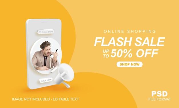 Promocja na zakupy online w sprzedaży flash z szablonem banera mobilnego 3d