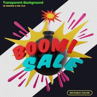 Promocja odznaki rabatowej na sprzedaż boomu 3d