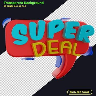 Promocja odznaki rabatowej na sprzedaż super deal 3d