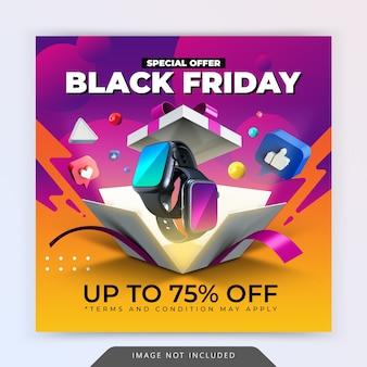 Promocja oferty specjalnej na czarny piątek na szablon projektu postu na instagramie