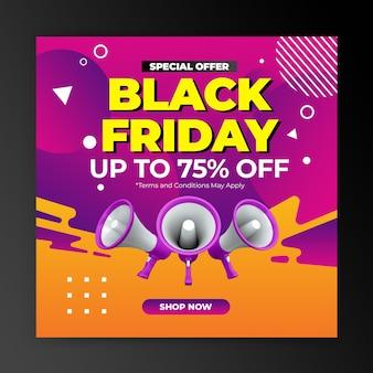 Promocja oferty specjalnej w czarny piątek na szablon postu na instagramie