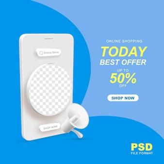 Promocja oferty zakupów online z telefonem komórkowym 3d na post w mediach społecznościowych