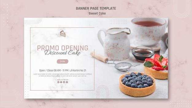 Promocja otwierająca baner cukierni słodkiej
