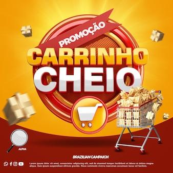 Promocja pełnej kampanii koszyka na zakupy w brazylii