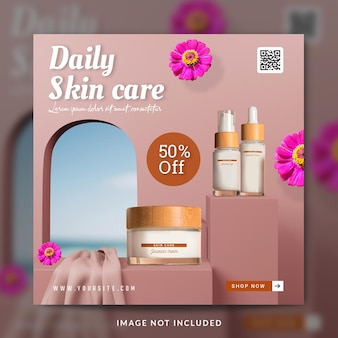 Promocja produktów kosmetycznych w mediach społecznościowych lub szablon banera