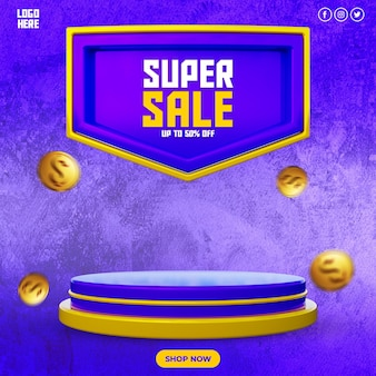 Promocja rabatowa super sprzedaż i szablon postu w mediach społecznościowych